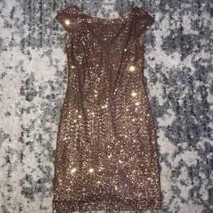Ralph Lauren Rose Gold Sequin Cap Sleeve Dress